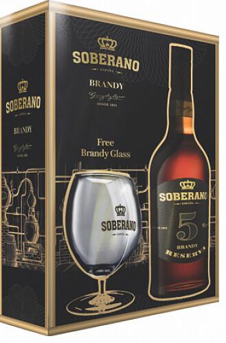 Soberano 5 Brandy Reserva 36% 0,7l + pohár v darčekovej krabici