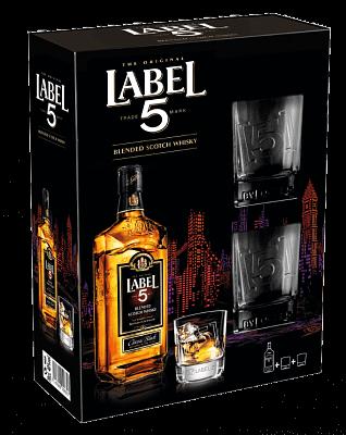 Label 5 Scotch Whisky 40% 0,7l  darčekové balenie + 2 poháre